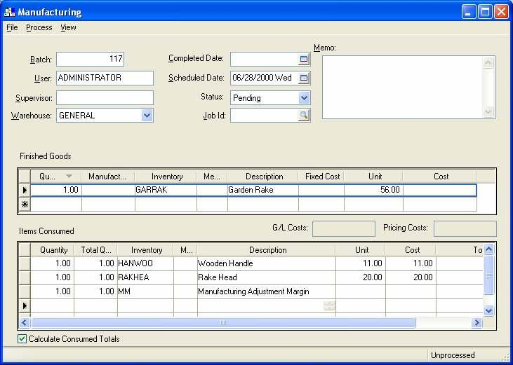 Eagle Business Management System - Manufacturing 2. Enable the Fixed Cost option on the Finished Goods line by clicking on the Fixed Cost column field.