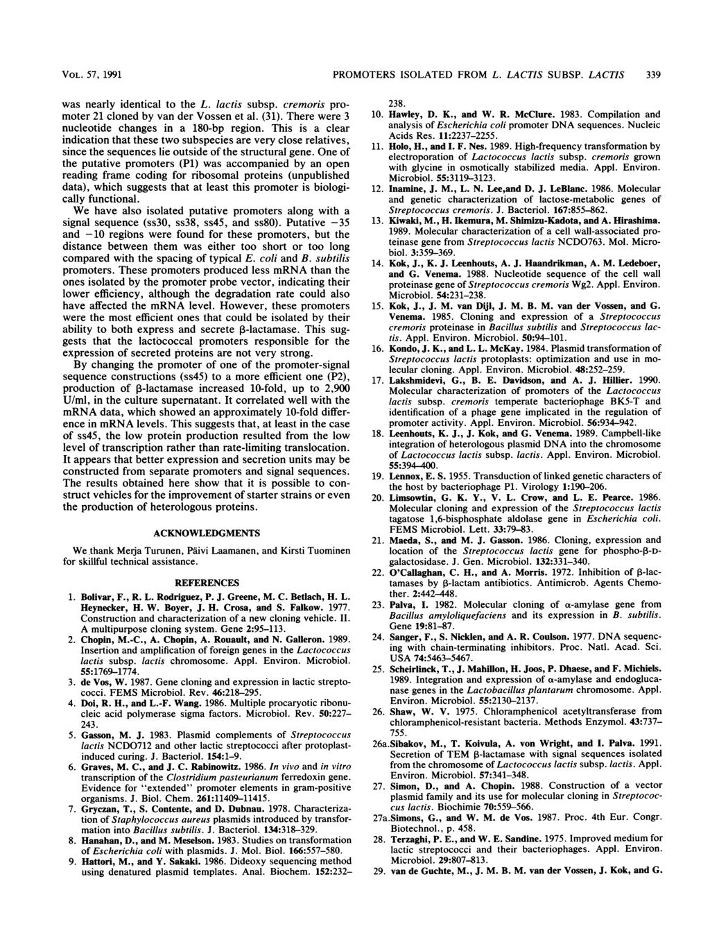 VOL. 57, 1991 PROMOTERS ISOLATED FROM L. LACTIS SUBSP. LACTIS 339 was nearly identical to the L. lactis subsp. cremoris promoter 21 cloned by van der Vossen et al. (31).