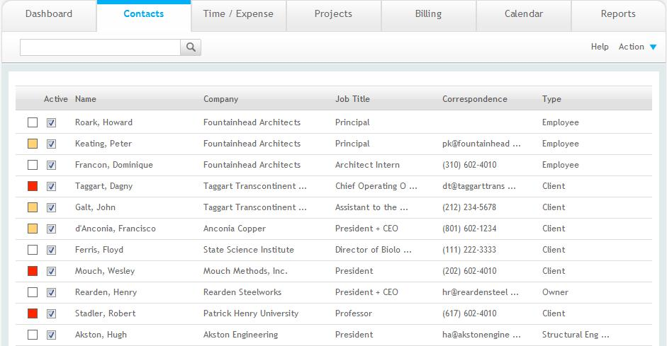 Quick Check 2. In ArchiOffice, select Contacts from the navigation bar. 3. In the List of Contacts, look for records with Employee in the Type column. 4.