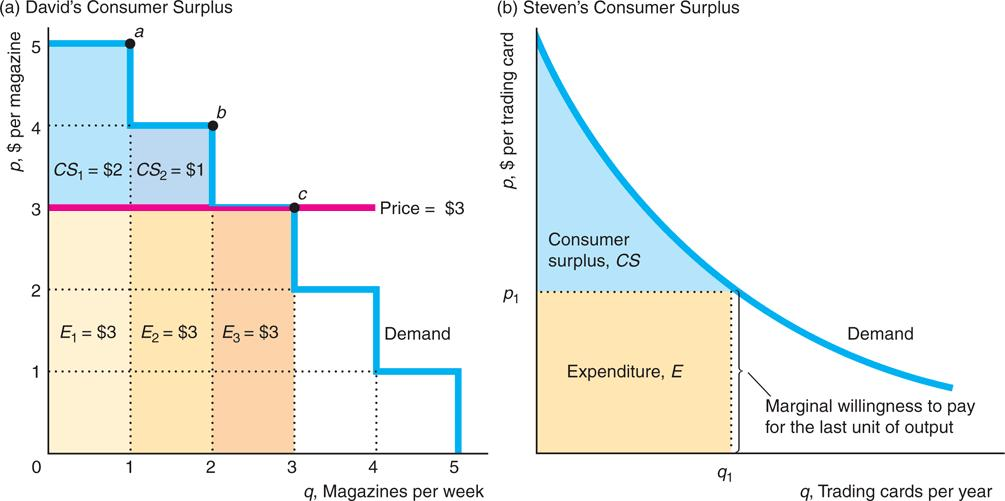 Measures of Well-being Consumer Surplus CS Producer Surplus PS Total Surplus CS + PS = TS Consumer Surplus (CS), monetary difference between what a consumer is willing to pay for the quantity of the