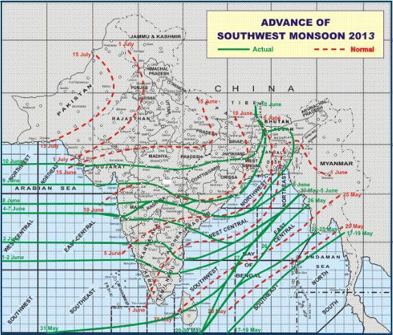 advance most parts of the country outside some parts of Rajasthan, Punjab, Haryana and West Uttar Pradesh during the subsequent 3-4 days.