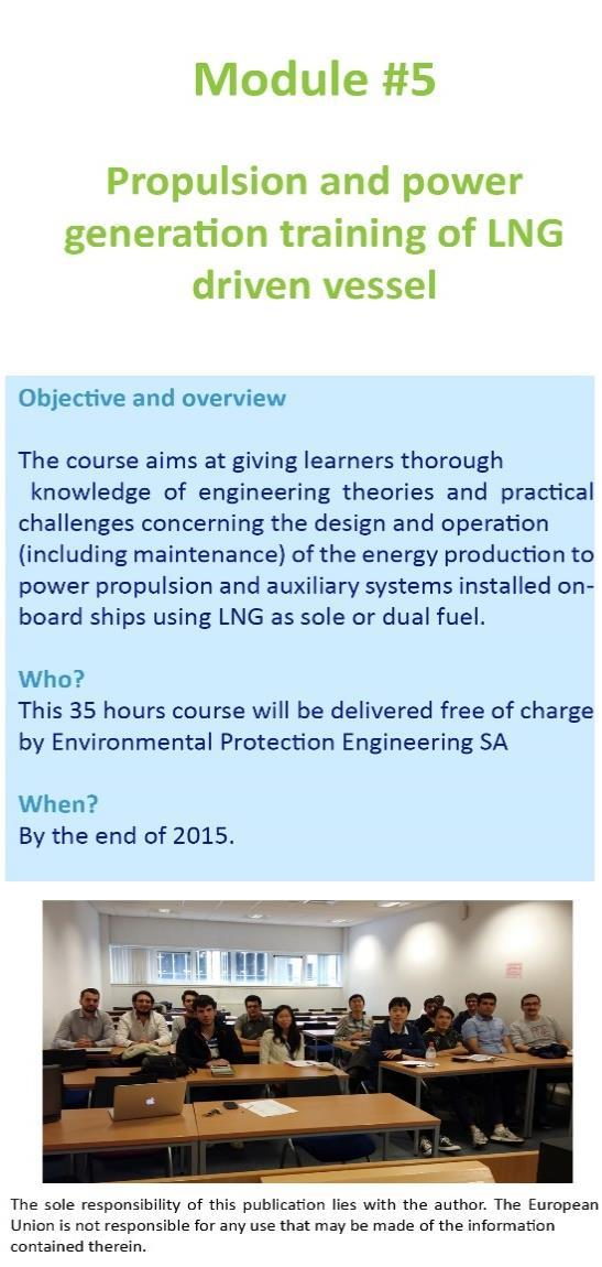 OCEAN FINANCE LTD AS PART OF OTMW-N Module #1: LNG Fueled Vessels Design Training We took part in this