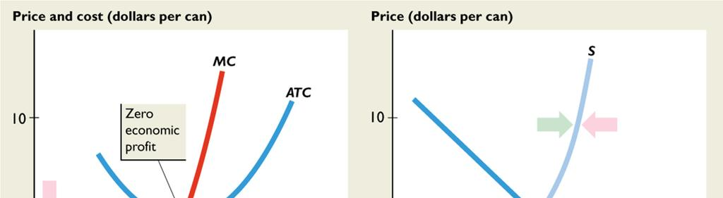 If supply were less than S, the price would exceed $5 a can; if supply were greater than S, the price