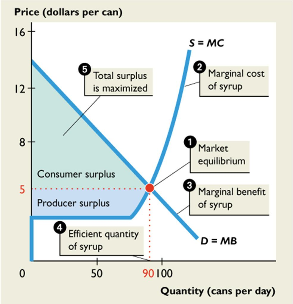 14.3 OUTPUT, PRICE, PROFIT IN THE LONG RUN Because marginal benefit equals marginal cost 4.