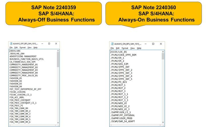 Lesson: SAP S/4HANA and Business Functions Figure 266: SAP S/4HANA: Always-Off and Always-On Business Functions Business functions can have the following status: always_on, customer_switchable, and