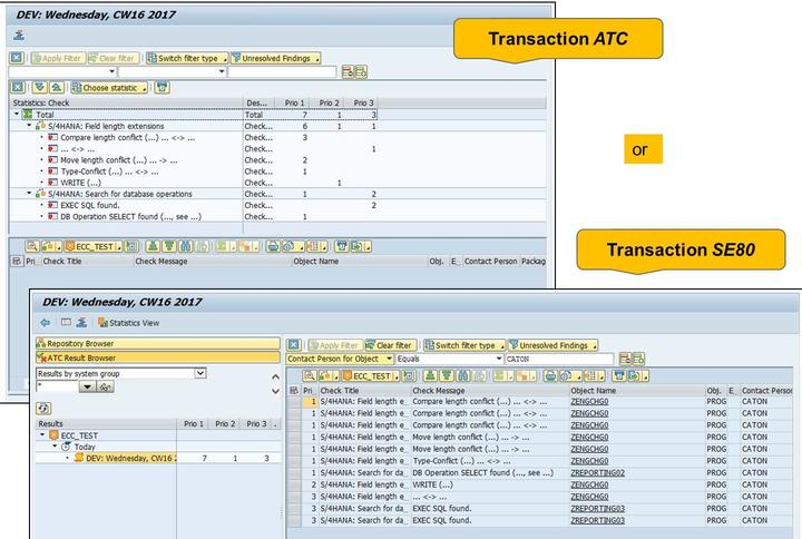 4/21/2018 SAP e-book Lesson: Custom Code Migration Figure 77: Evaluating the Results: Example Evaluate the results of the Remote Code Analysis in ATC via transaction ATC Back in the initial screen of