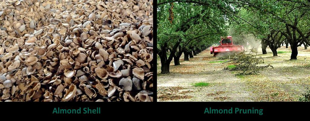 Almond Biomass Feedstock In California Type Current Industry Potential Power Potential (MW) Recovered Heat (MMBTU) Almond Shell 650,000 tons 100 4,500,000 Almond Sticks 90,000 tons 15 700,000