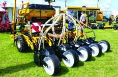 While this follows the strip-till principle, it sows two narrow bands of seed on the outer edges of each strip effectively drilling 18 rows across the 3m working width.