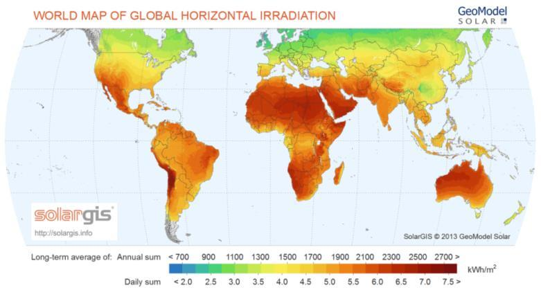 2. Concentrated solar power systems Figure 2.2: Areas of the world with high insolation [76].