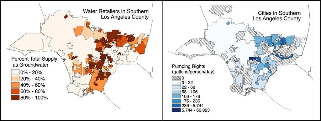 Water Supply Sources Percent supply from groundwater (left) and
