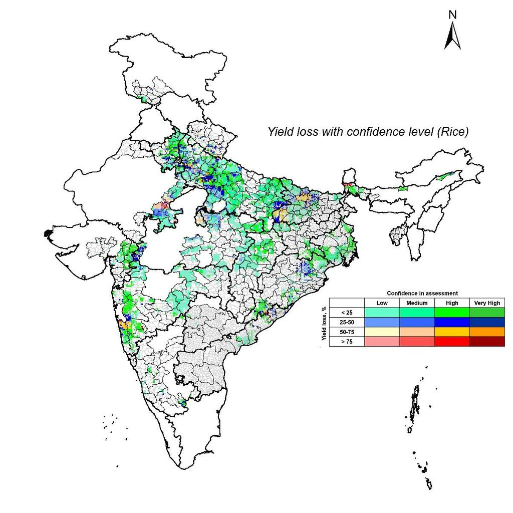 KHARIF-2017 (INDIA) OCTOBER 2017 RICE: YIELD LOSS ASSESSMENT The following map presents regions where there are likely chances that there was crop loss in this season due to inadequate/excess