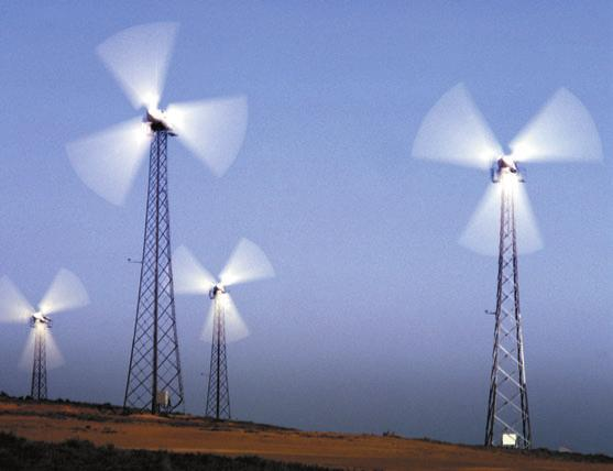 Figure 4 shows wind turbines from an electricity-generating wind farm near Palm Springs, California. The triple-blade propeller is one of the most popular designs used in wind turbines today.