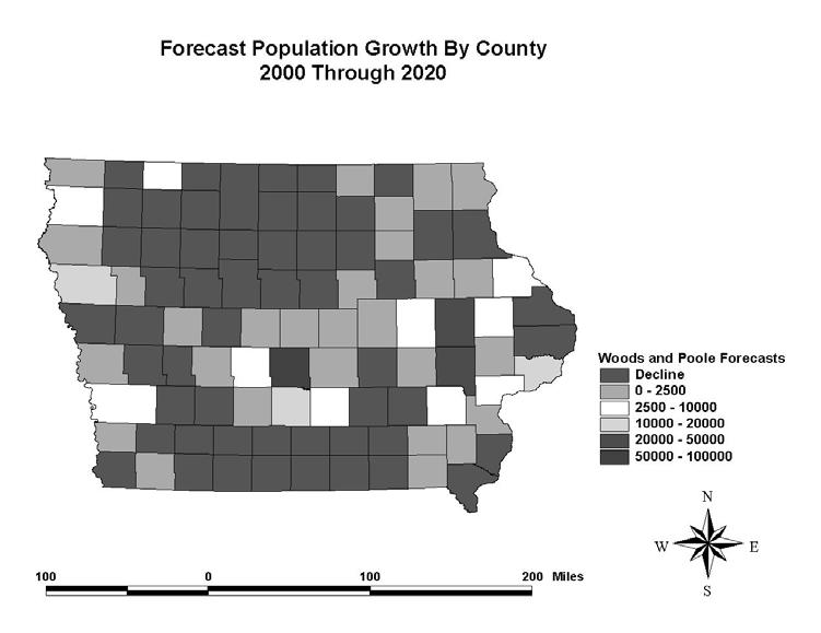 FIGURE 5. Year 2020 Population Forecast Map Produced Using Data from Woods and Poole, Inc.