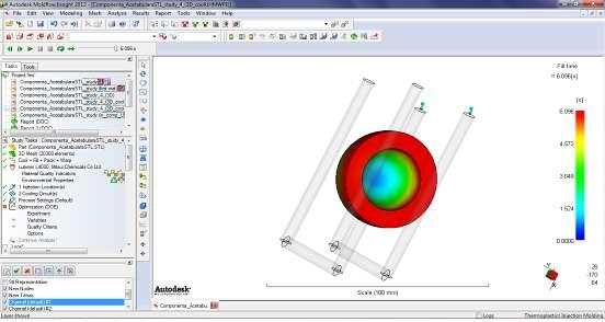 The modelling and simulation of the acetabular component injection process is performed during the following phases according to the Autodesk Moldflow simulation program: - the model that
