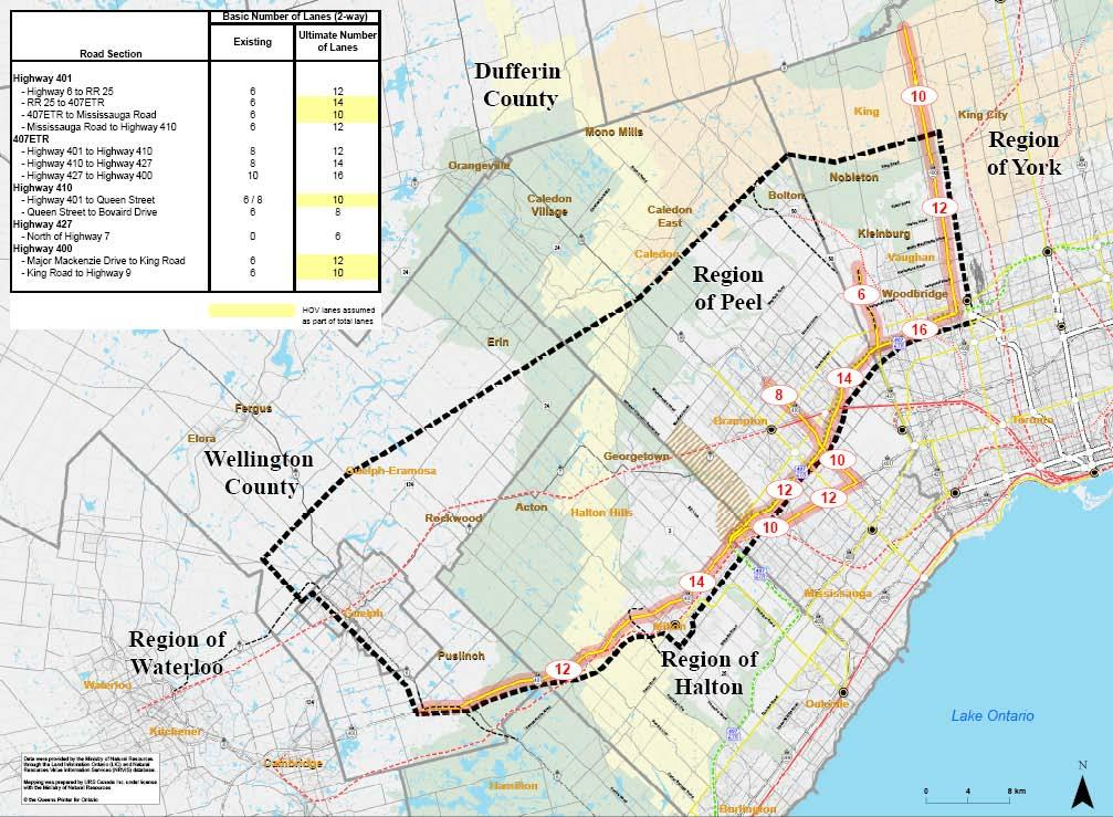Group 3: Includes Widened / Improved Existing Roads Alternative 3-1 This alternative includes initiatives by others including Metrolinx, MTO and municipalities The ultimate number of lanes shown in