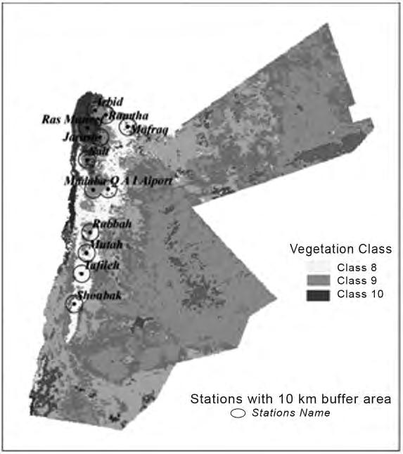 81 Figure 1. Major vegetation classes of Jordan produced using supervised classification MLC, for a MODIS-NDVI time series 2001-2007 1 km (Al-Naber et al. 2009).