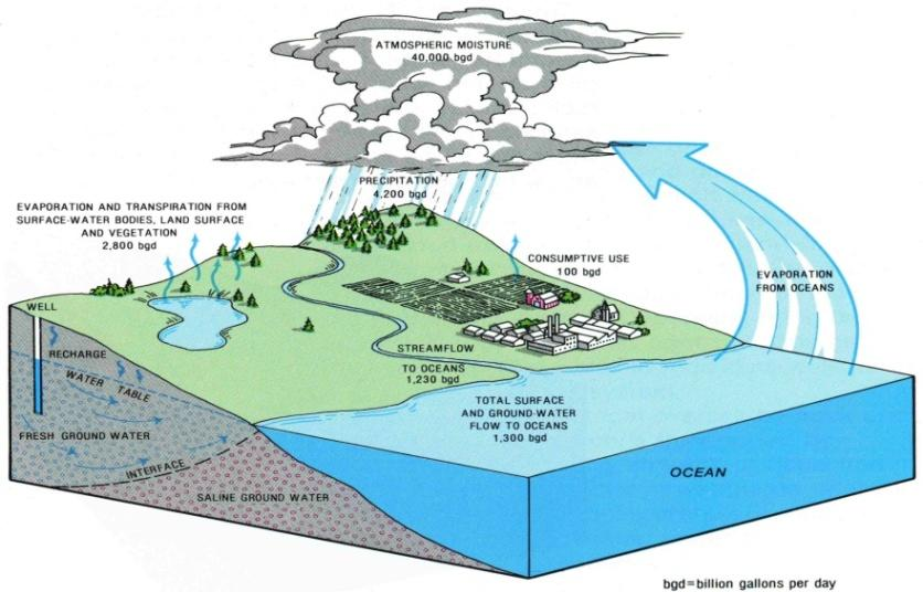 General Groundwater Concepts Hydrologic Cycle All water on the surface of the earth and underground are part of the hydrologic cycle (Figure 1), driven by natural processes that constantly transform