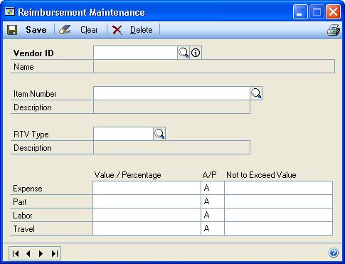 CHAPTER 2 SETUP IN RETURNS MANAGEMENT Set up reimbursements Reimbursement values are the amounts or percentages the vendor has agreed to reimburse your company for charges you might have incurred for