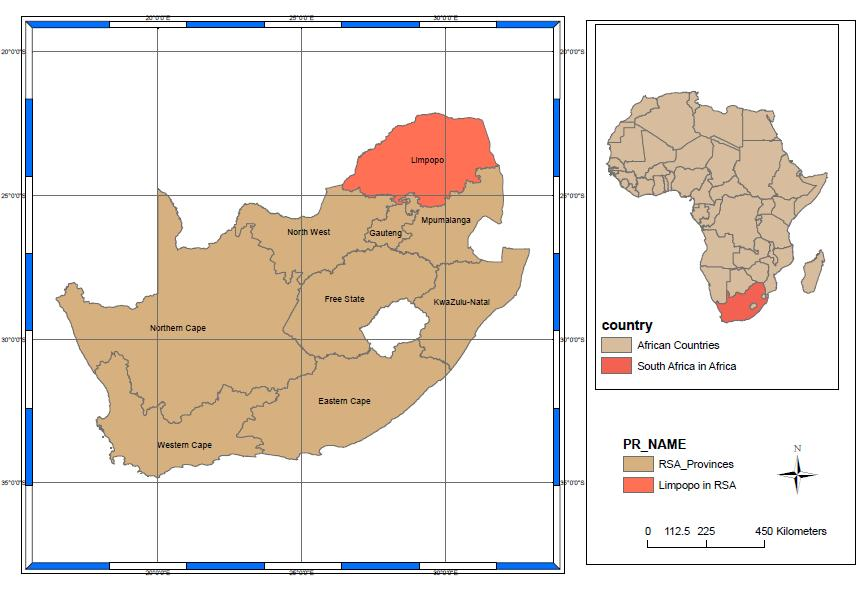 3.2 Study area While South Africa is situated in the southernmost part of Africa, the Limpopo Province is South Africa s most northern province, as can be seen in Figure 3.1.