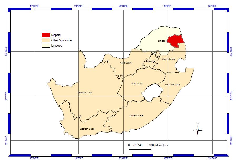 The district is bordered by Mozambique in the east, by the Vhembe District Municipality (VDM) through the Thulamela and the Makhado District Municipalities (MDM) in the north, the Mpumalanga province