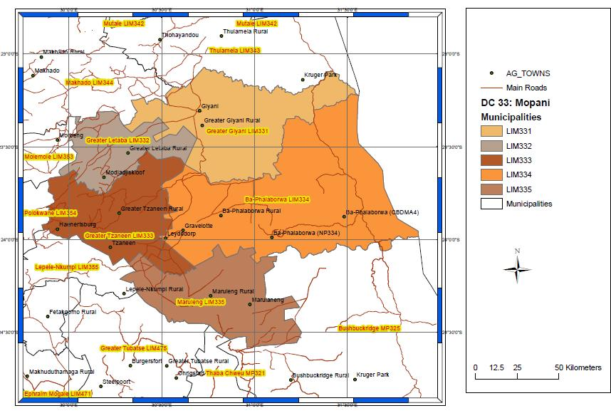Figure 3.4: Mopani District Municipalities (Source: Geography Division of StatsSA, 2016). In the Mopani district, most of the rural residents are poor.