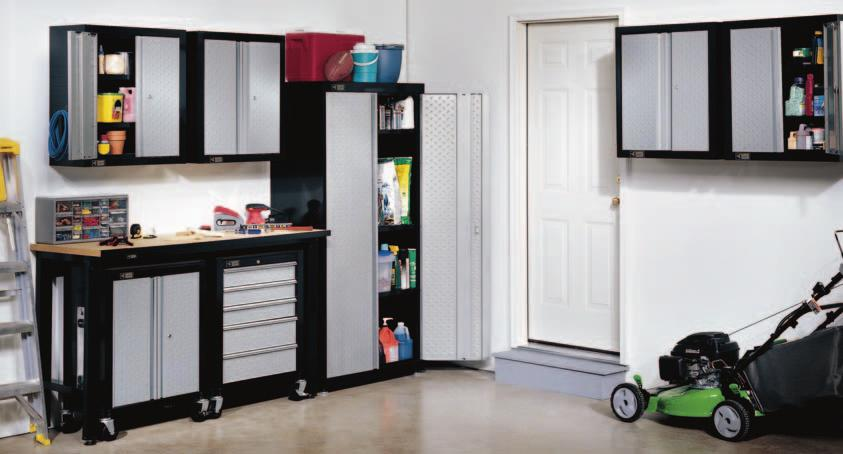 ALL CABINETS ARE FULLY LOCKABLE LARGE CAPACITY FLOOR CABINET BAKED EPOXY POWDER PAINT FINISH CADET-SET 6 PIECE GARAGE STORAGE SYSTEM Includes the following items: 2 - CADET-1250
