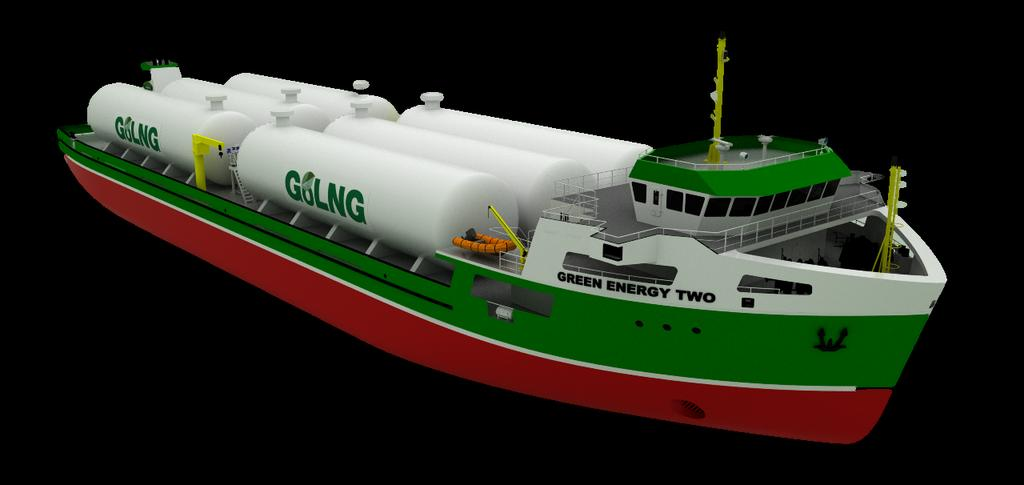 3,600m 3 LNG Vessel (1,539 Tonnes 79,722 MMBTU 76 MMSCF) Cargo tanks: maximum LNG delivery by Scalable, Vacuum Insulated, Pressurized C-tanks (no