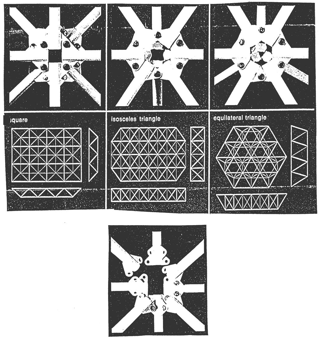 The diagrams illustrate three basic space frame geometries square, isosceles