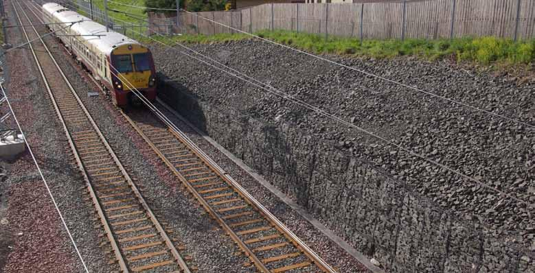 At Caldercruix on the new Airdrie to Bathgate rail line in Scotland, Maccaferri Gabion walls were built to allow widening of the rail corridor and the construction of a new station complex.
