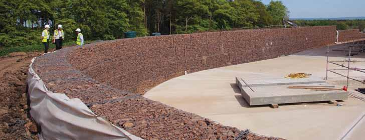 Gabion Terramesh, reinforced-soil retaining walls up to 9m high were required to support the huge quantities of reclaimed fill material used to landscape the south and east sides of the Glencorse