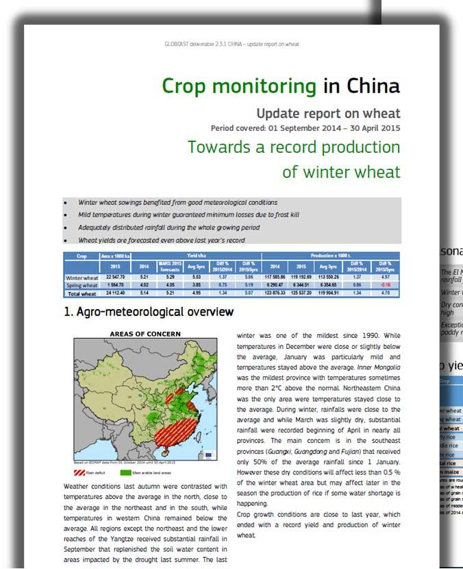 Update Report May/2015 Wheat and Rabi rice in