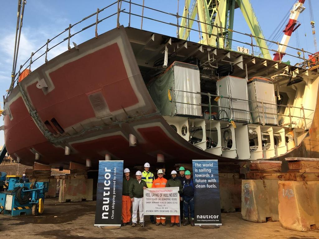 The construction of the Nauticor LNG bunker supply vessel is progressing well, delivery of the vessel in Q4 2018 Impression from the keel laying ceremony in February 2018 Comments Construction of the