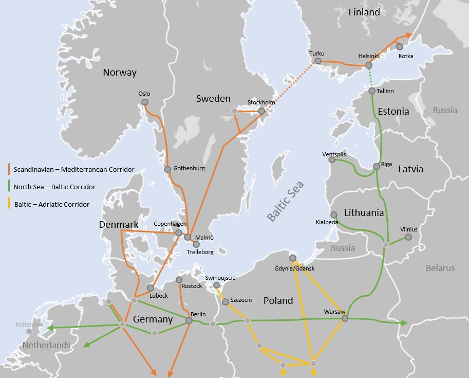 Existing transport corridors for the BSR The development of a LNG fuel distribution strategy requires a close look at the existing infrastructure that connects the neighboring countries of the Baltic