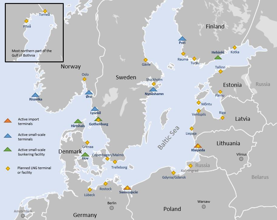 Figure 3 Active and planned LNG terminals and facilities Figure 3 shows all the planned LNG terminals or facilities.