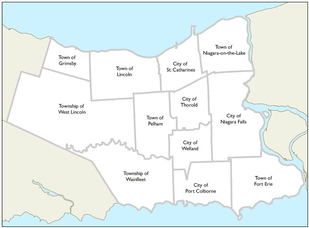 3 Where Are We Now? 3.1 The Niagara Setting Niagara Region is a regional municipality comprising twelve municipalities of Southern Ontario, as shown in Exhibit 3.1. As a regional municipality, the Niagara Region Council includes representation from each of these twelve municipalities.