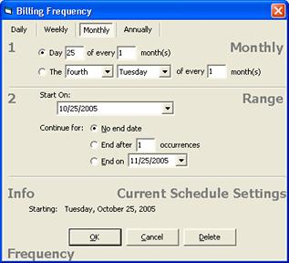 Office Duties 3. Select the date on which you want the billing cycle to start from the Start On calendar box.