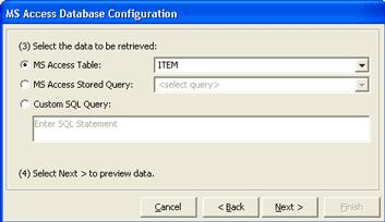 Select the option button corresponding to the query or table you want to use. Note: The table or query you select in this dialog box will control the data that is imported from the database.