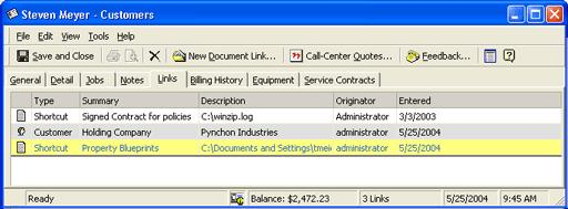 Customers Customers Links Tab The customer s Links tab is a great way to store related documents pertaining to a customer while making them easy to find and accessible to your staff.