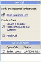 Call Center Note: The text box at the bottom of the Call Center (under the Go to Other Calls button) is designed to be used as a notepad. You can enter any notes about the call into this box.