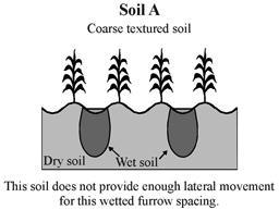 Furrows are narrow field ditches, excavated between rows of plants and carrying water