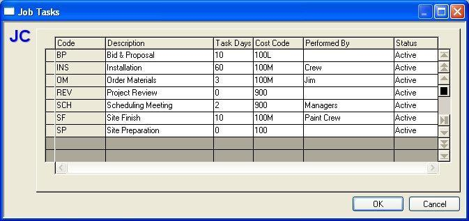 Maintain Job Tasks When Job Tasks... is selected from the Job Costing Maintain menu the Maintain Job Tasks dialog box displays.