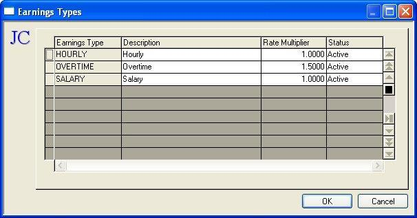 Maintain Earnings Types When Earnings Types... is selected from the Maintain Menu the Maintain Earnings Types dialog box displays.