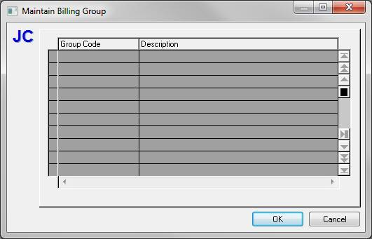 Maintain Billing Groups When Billing Groups... is selected from the Maintain Menu the Maintain Billing Group dialog displays.