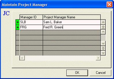 Maintain Project Manager When Project Manager... is selected from the Job Costing Maintain menu the Maintain Project Manager dialog box displays. Each job created can be assigned a Project Manager.
