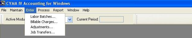 Enter Menu Selecting the Enter menu from the Job Costing menu bar drops down a submenu that enables you to enter job costing data.