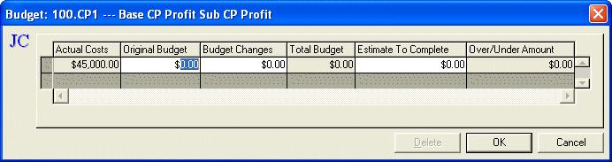 Maintain Jobs - Summary Budget The Summary budget type allows you to summarize original budget amounts, any changes and an estimate to complete.
