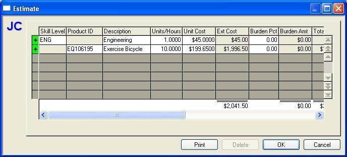 Budget Estimate - Cost Code and Cost Category The Budget Estimate dialog display when the Estimate button is selected on the Cost Code or Cost Category budget dialog.