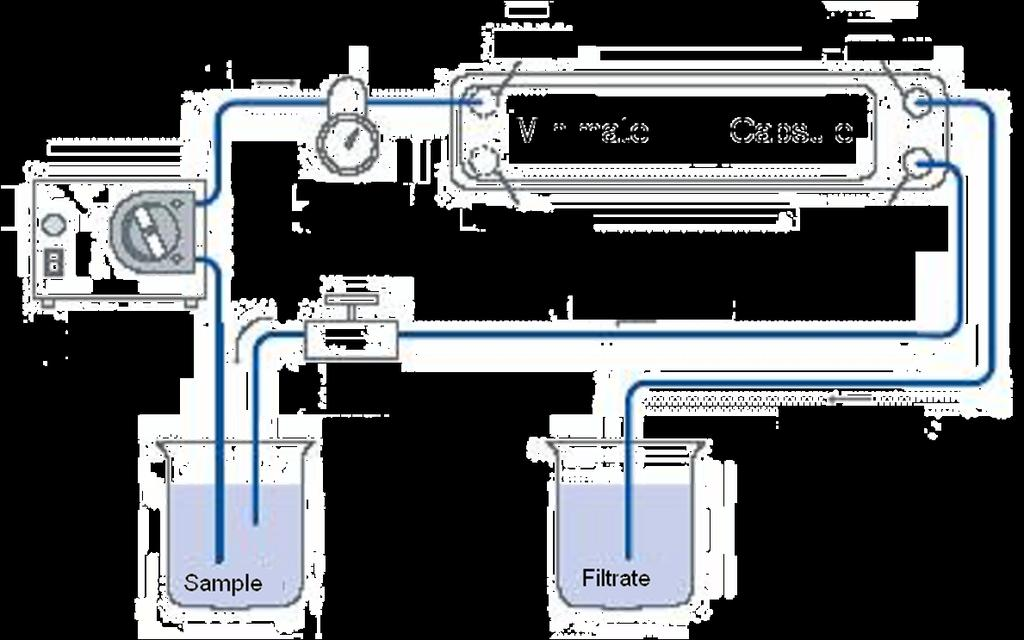 Schematic for Minimate TFF System Feed Flow Feed Filtrate Minimate TFF Capsule Pressure Gauge Vent Retentate Peristaltic Pump Screw Clamp Retentate