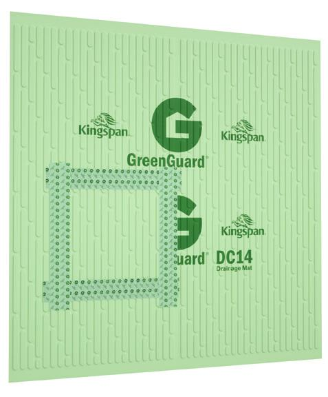 locations. If Kingspan GreenGuard DC14 Drainage Mat is installed over wood structural sheathing, then the wood sheathing can be used as a nail base.