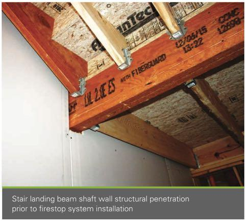 Penetrations in Shaft Walls Some firestopping systems available as tested configurations for wood